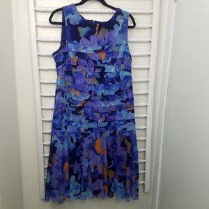 London Times Blue Teired Flowy Midi Dress 18W